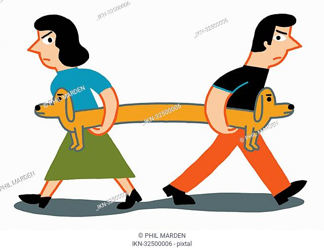 Man and woman pulling at dog in different directions