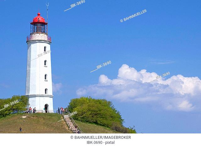 Hiddensee island Mecklenburg Vorpommern Germany lighthouse on the hill Schluckswiek in the northern part of the island