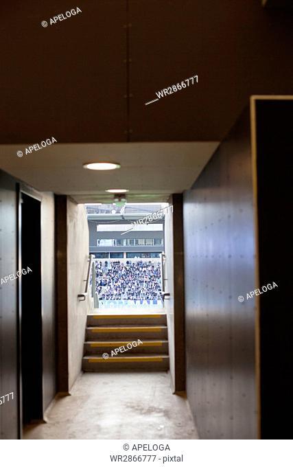 Stadium seen through doorway