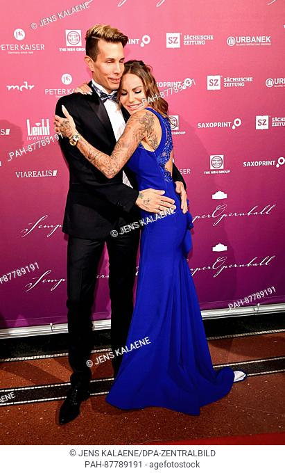 Gina-Lisa Lohfink and Florian Wess at the 12th Semper Opera Ball in Dresden, Germany, 03 February 2017. Photo: Jens Kalaene/dpa-Zentralbild/ZB | usage worldwide