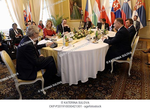 Presidents round the table, CW from front: Czech Milos Zeman, Slovak Zuzana Caputova, Serbian Aleksandar Vucic, Hungarian Janos Ader