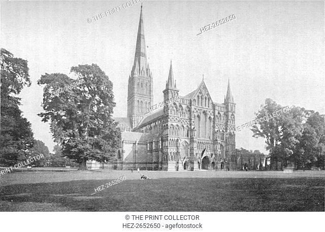 'Salisbury Cathedral', 1902. From Social England, edited by H.D. Traill, D.C.L. and J. S. Mann, M.A. [Cassell and Company, Limited, London, Paris