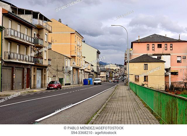 Big street of A Rua town, Orense, Spain