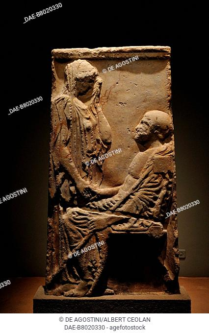 Funerary stele, 450-425 BC, from Pherai, Thessaly, Greece. Ancient Greek civilization, 5th century BC. Volos, Archaeological Museum