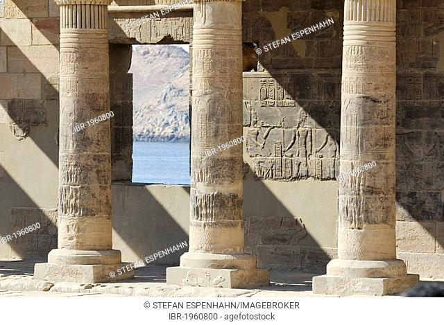 Stone columns with reliefs, hieroglyphs, Philae Temple, Aswan, Nile Valley, Egypt, Africa