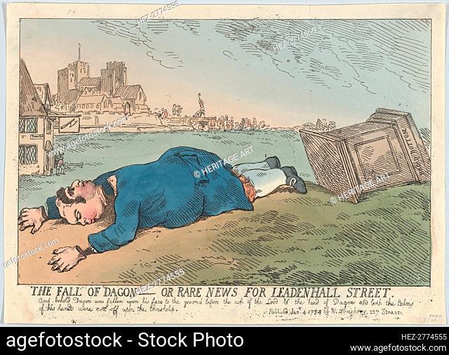The Fall of Dagon - Or Rare News for Leadenhall Street, January 4, 1784., January 4, 1784. Creator: Thomas Rowlandson