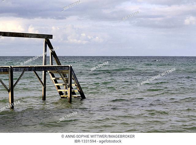 Sea and beach with a jetty on Funen, Fyn, Denmark, Europe