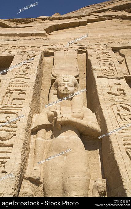 Statue of the Queen Nefetari, Temple of Hathor and Nefetari, UNESCO World Heritage Site, Abu Simbel, Egypt
