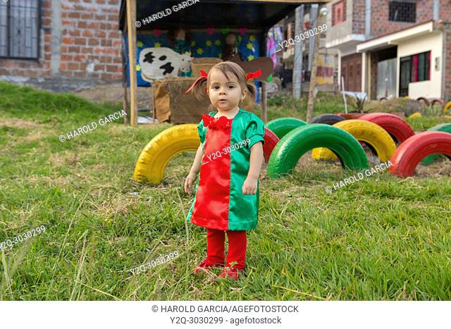 Infant Girl dresses Tulle Romper Christmas Outfit in front colorful tires