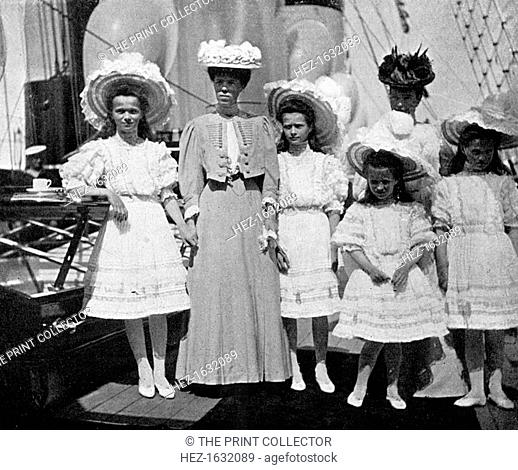 The mother, sister and children of Tsar Nicholas II (1868-1918) of Russia, 1908.From Queen Alexandra's Christmas Gift Book, Photographs from My Camera