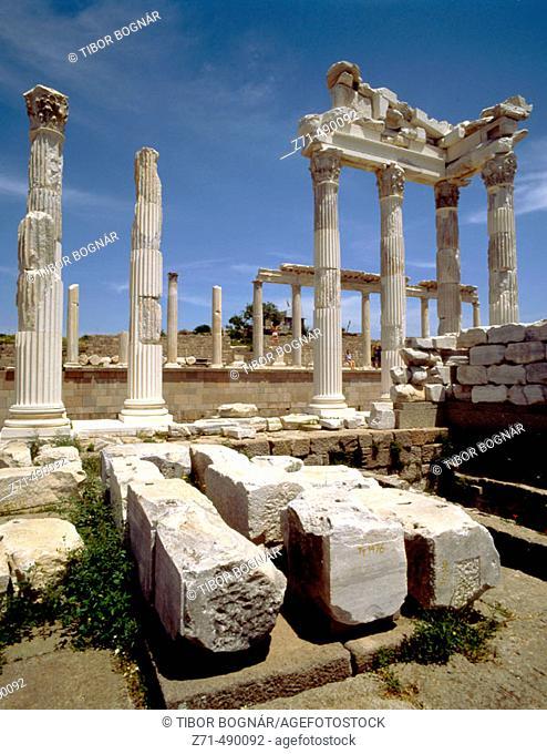 Trajan's Temple, ruins of Pergamon. Bergama. Turkey