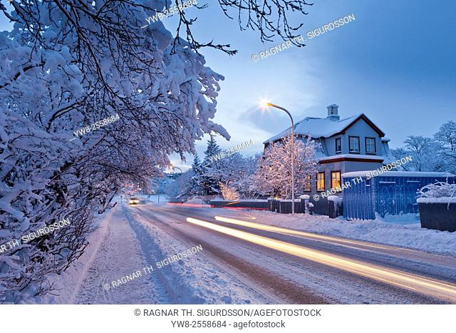 Snowstorm, Reykjavik, Iceland