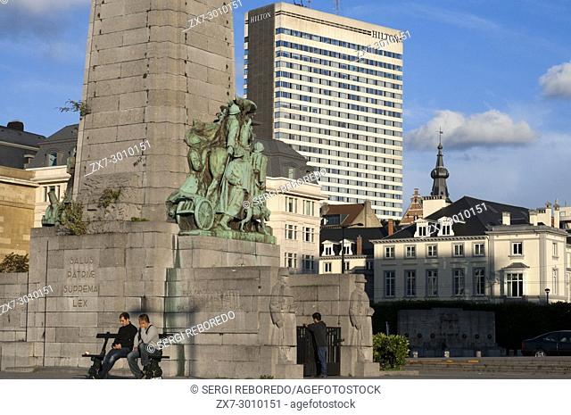 Poelaert square, Marolles neighborhood, Brussels, Belgium. In the square Poelaert find a monument by sculptor Charles Sargeant Jagger erected in 1923