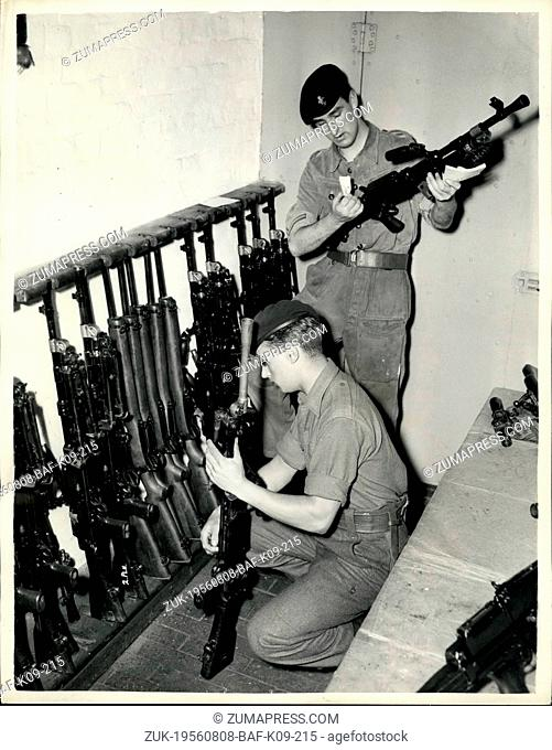 Aug. 08, 1956 - Operation Suez Commences. Checking Arms - at Warley Barracks., Essex - today -owing to the Suez Canal Emergency