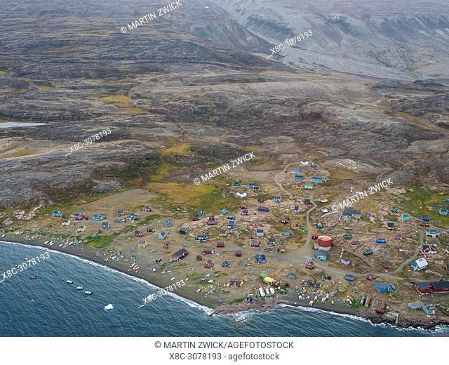 Qaarsut village on the Nuassuaq Peninsula. America, North America, Greenland, Denmark