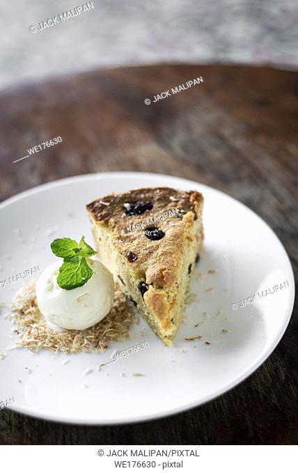 organic banana and raisin cake with coconut ice cream sweet dessert