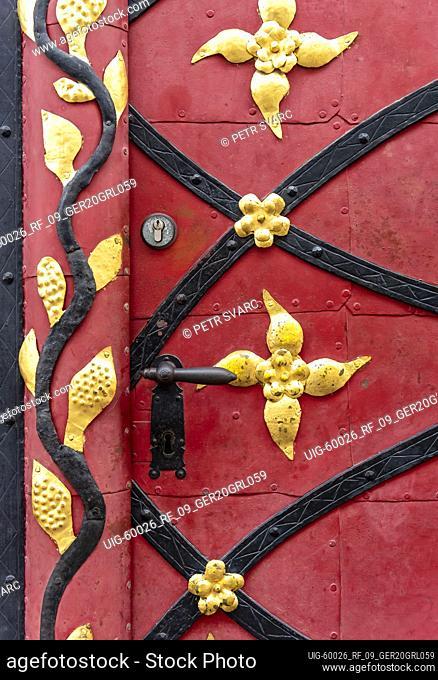 Close-up of door of Baroque house at Neißstraße 19, Görlitz, Germany