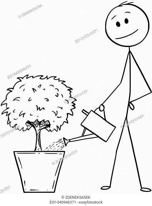Cartoon stick drawing conceptual illustration of man or businessman watering small tree in big pot. Business concept of career, investment and success