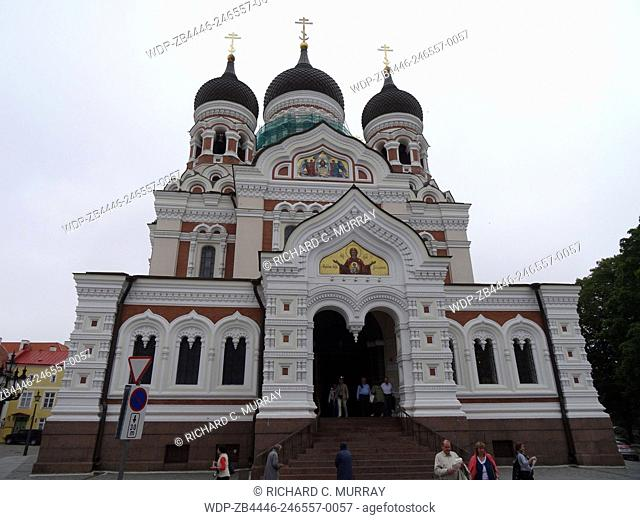 Alexander Nevsky Cathedral (1894) Russian Orthodox across Palace Square Old Town 3 Onion Domes-Tallinn, Estonia