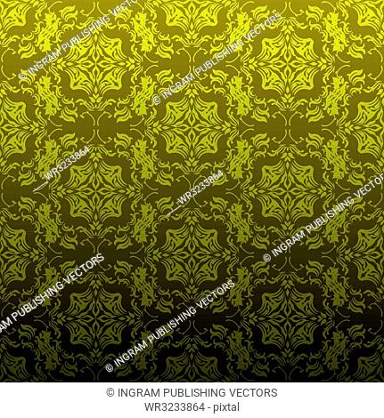 Seamless golden wallpaper background with floral inspired design