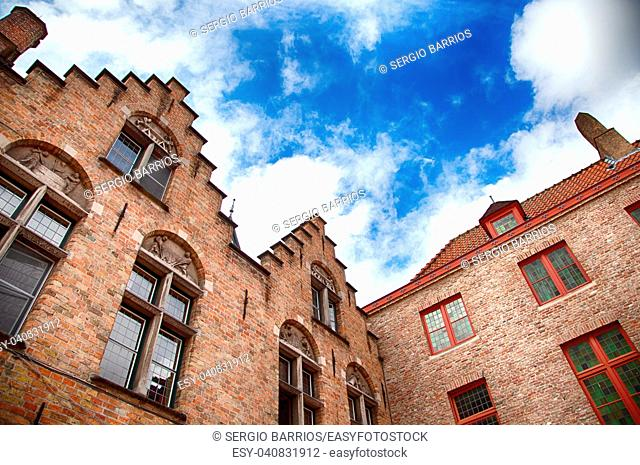 House typical of bruges, detail of medieval houses, tourism in Belgium, Europe