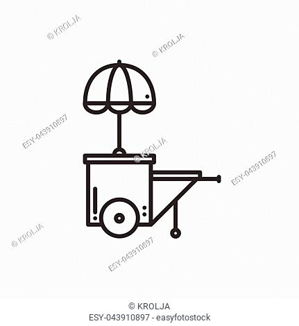 Street food retail thin line icon. Food trolley, truck, kiosk, wheel market stall, mobile cafe, shop, trade cart. Vector linear icon