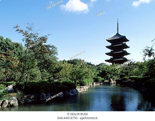 Five story Pagoda of the Toji Buddhist Temple (Kyo-o-Gokoku-ji) in Kyoto (UNESCO World Heritage List, 1994), Kansai, Japan. Japanese civilization