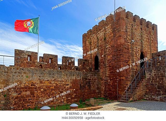 Castelo de Silves, flag, Portugal, national, tower, Silves Portugal