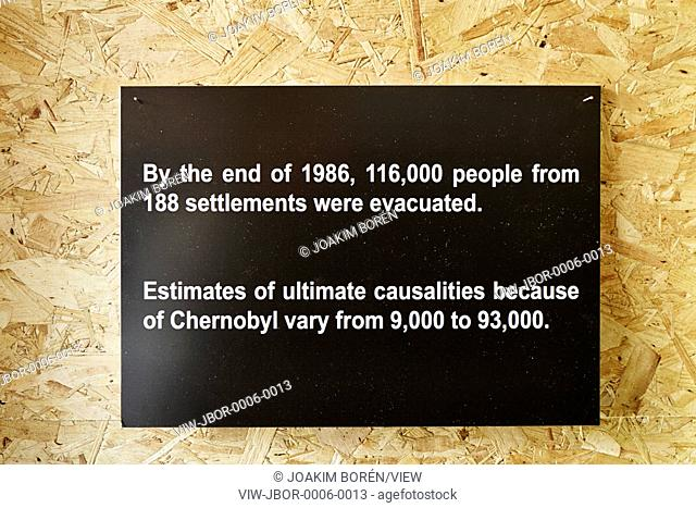 Wall-mounted statement of casualties. Remembering Chernobyl Exhibition 04 JUNE - 26 JUNE 2016, London, United Kingdom. Architect: Spheron Architects, 2016