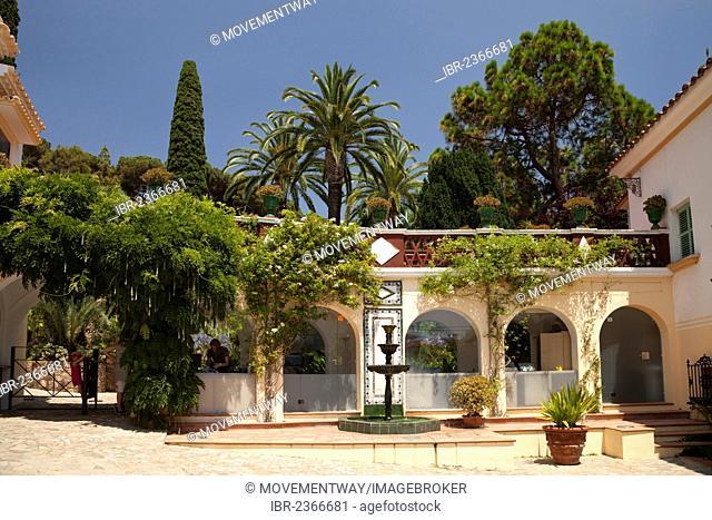 Entrance area of the Jardí Botànic Marimurtra, botanical gardens, Blanes, La Selva, Costa Brava, Catalonia, Spain, Europe, PublicGround