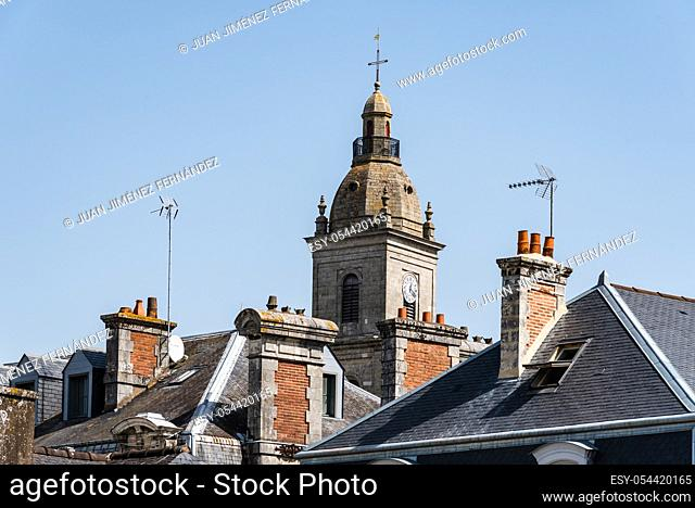 Cityscape of the old town of Vannes with old slate roofs and church tower. Brittany, France