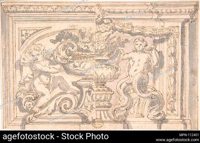 Alternate Panel Designs with Urn and Putto. Artist: Anonymous, Italian, 17th century; Date: 17th century; Medium: Pen and brown ink