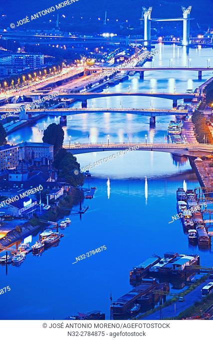 Rouen, Seine river, River Seine, Dusk, Haute Normandie, Seine Maritime Department, Normandy, France