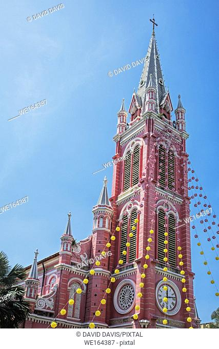 Beautiful exterior of the Tam Dinh Catholic Church in Ho Chi Minh City Vietnam