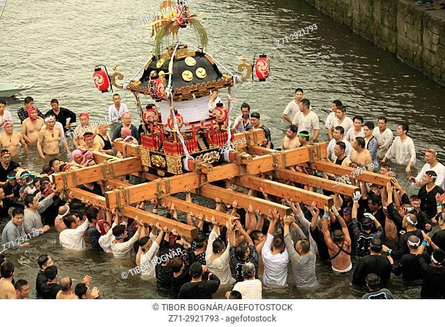 Japan, Shimodate, Gion Matsuri, festival, people, river, portable shrine,