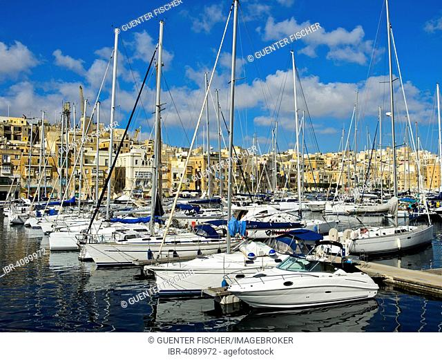 Boats in the marina of Vittorioso, view of Valletta, Malta