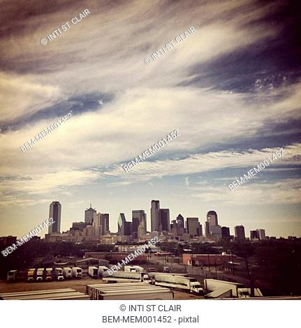 Dallas city skyline under blue sky, Dallas, Texas, United States