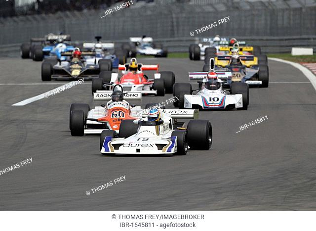 Race of the historic Formula 1 cars, in front Rob Austin in the Surtees TS19 from 1978, Oldtimer-Grand-Prix 2010 for vintage cars at the Nurburgring race track