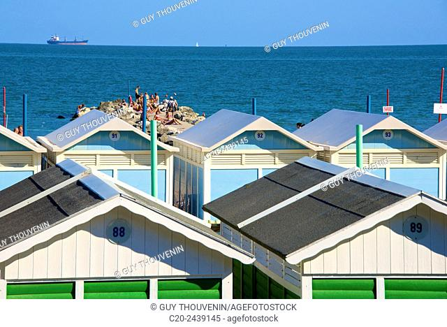 Beach huts and sun deck, Lido, Venice, Venetia, italy
