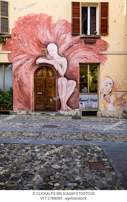 Dozza, Bologna, Emilia Romagna, Italy, Europe. Steady works painted on the wall of the houses