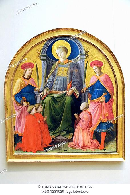 Saint Lawrence Enthroned with Saints and Donors, by Fra Filippo Lippi Italian, Florence, born about 1406, died 1469 Spoleto, Tempera on wood, gold ground