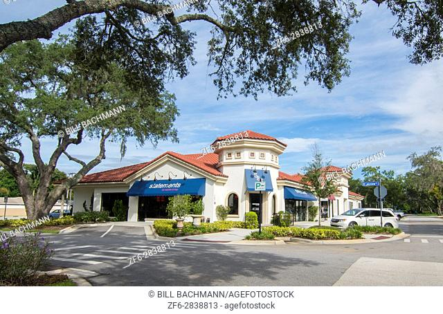 Lake Mary Florida downtown shops upscale development called Central Park 5th Street in new shopping center,