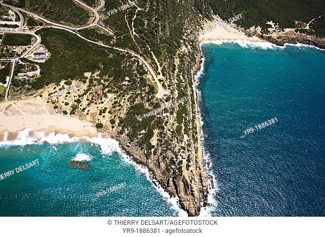 Zahara de los Atunes Lighthouse. Playa de los Alemanes on the left, Secrt virgin beach on the right. Cadiz area, Spain Aerial view