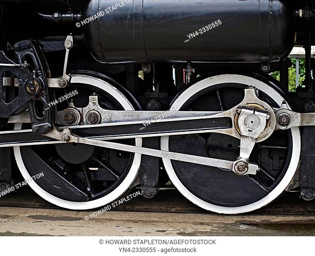Driver wheels on a steam locomotive at Skagway, Alaska. Steam engine No. 73 of the White Pass and Yukon Route Railroad. The steam Engine No