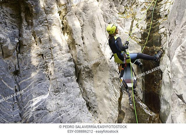 Canyoning in Lapazosa Canyon, Bujaruelo Valley, Pyrenees, Huesca Province, Aragon, Spain