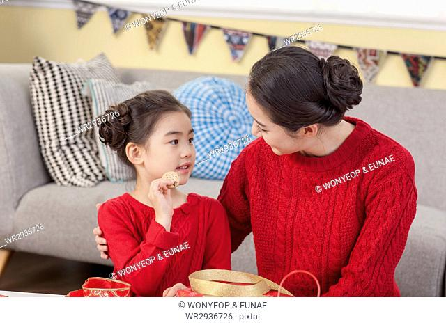 Harmonious mother and daughter