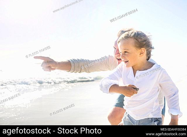 Father having fun with his son on the beach, pointing at distance