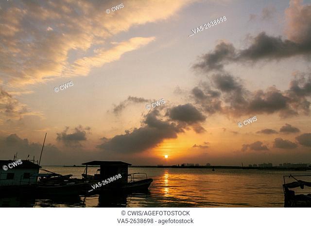 Wenchang, Hainan island, China - Beautiful sunset view at Qinglan Port