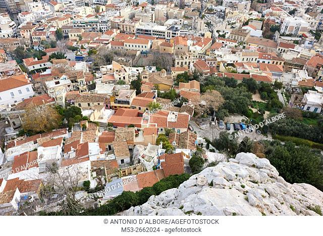 The districts of Plaka, Psirri and Exarchia seen from The Acropolis. Athens. Greece