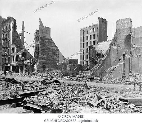 Turk Street from Corner of Market and Mason Streets after Earthquake, San Francisco, California, USA, circa 1906